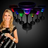 LED Margarita Glass With Black Stem-10oz