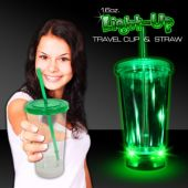 Light Up Travel Cup with Green Lid and Straw – 16 Ounce