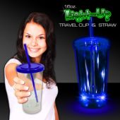 Light Up Travel Cup with Blue Lid and Straw – 16 Ounce