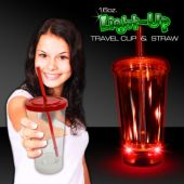 Light Up Travel Cup with Red Lid and Straw – 16 Ounce