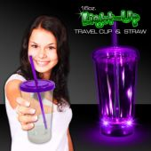 Light Up Travel Cup with Purple Lid and Straw – 16 Ounce