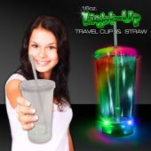 Light Up Travel Cup with Clear Lid and Straw – 16 Ounce