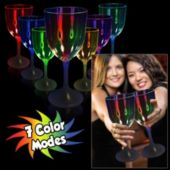 Multi-Color LED Wine Glass With White Stem - 10 Ounce