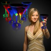 LED Martini Glass With White Stem-7oz
