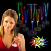 Multi-Color LED Champagne Glass With White Stem - 10 Ounce