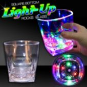 LED Square Bottom Rocks Glass-10oz