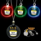 Assorted Color Happy Birthday LED Pendant - 12 Pack