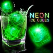 "Neon Green Lited 1 1/2""  Ice Cubes - 12 Pack"