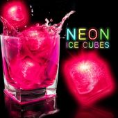 "Neon Pink Lited 1 1/2"" Ice Cubes - 12 Pack"