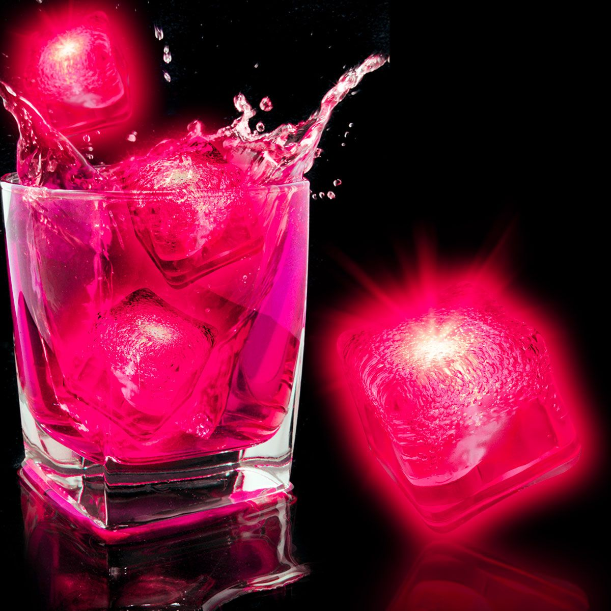 Neon Pink LED and Light-Up Ice Cube-12 pack LIT977DZ