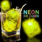 "Neon Yellow 1 1/2"" Lited Ice Cubes - 12 Pack"