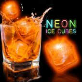 "Neon Orange 1 1/2""  Lited Ice Cubes - 12 Pack"