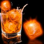 Neon Orange LED and Light-Up Ice Cube-12 Pack