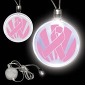 Pink Ribbon LED Pendant Necklace