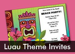 Personalized Luau Theme Invitations