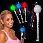 "Flashing Multi-Color LED 10"" Tinsel Maraca"
