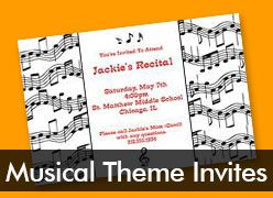 Personalized Musical Theme Invitations