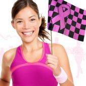 Pink Ribbon Checkered Flags-12 Pack