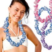 Assorted Color Two Tone Silk Flower Leis - 36 Inch, 12 Pack