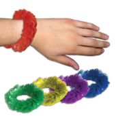 Assorted Color Plastic Lei Bracelets - 2.25 Inch, 12 Pack
