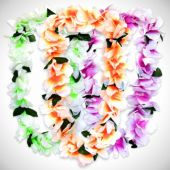Neon Silk Flower Leis-12 Pack