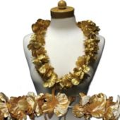 Gold Flower Leis - 36 Inch, 12 Pack
