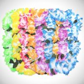 Pastel Silk Flower Leis - 12 Pack