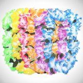 Pastel Silk Flower Leis - 12 Pack