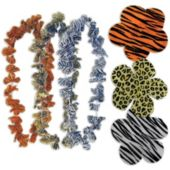 "Assorted Animal Print Silk Flower 36"" Leis - 12 Pack"
