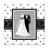 Black and White Wedding Beverage Napkins – 16 Pack