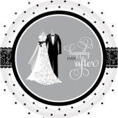 "Black & White Wedding 10 ½"" Plates – 8 Pack"