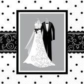 Black & White Wedding Lunch Napkins – 16 Pack