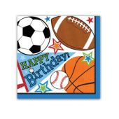Sports Birthday Beverage Napkins – 16 Pack