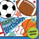 Sports Birthday Lunch Napkins – 16 Pack