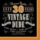 Vintage Dude 30 Year Lunch Napkins – 16 Pack