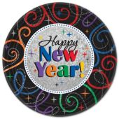 "Happy New Year 9"" Plates – 8 Per Unit"