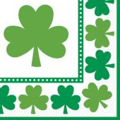 St. Pat's Shamrocks Beverage Napkins-16 Pack