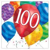 Balloon Blast 100th Birthday Lunch Napkins - 16 Per Unit