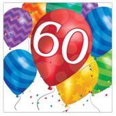Balloon Blast 60th Birthday Lunch Napkins - 16 Per Unit