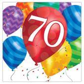 Balloon Blast 70th Birthday Lunch Napkins - 16 Per Unit