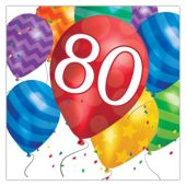 Balloon Blast 80th Birthday Lunch Napkins - 16 Per Unit