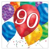 Balloon Blast 90th Birthday Lunch Napkins - 16 Per Unit