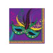 Mardi Gras Mask Beverage Napkins - 16 Per Unit