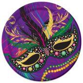 "Mardi Gras Mask Plates - 9"" - 8 Per Unit"