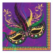 Mardi Gras Mask Lunch Napkins - 16 Per Unit