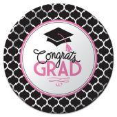 """Congrats Grad Pink Plates - 8 3/4"""" - 18 Per Unit"""