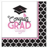 Congrats Grad Pink Lunch Napkins - 36 Per Unit