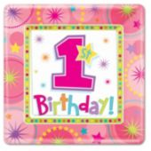 One-Derful First Birthday Girl Plates - 7 Inch, 8 Pack