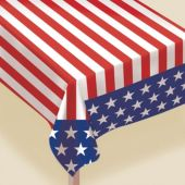 American Flag Flannel Backed Table Cover