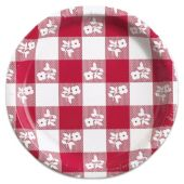 """Red Gingham Flower Plates -8 3/4"""" - 8 Per Unit"""